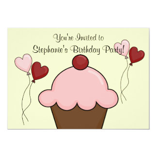 """Pink Ice Cream Cone - Girls Party 5"""" X 7"""" Invitation Card"""