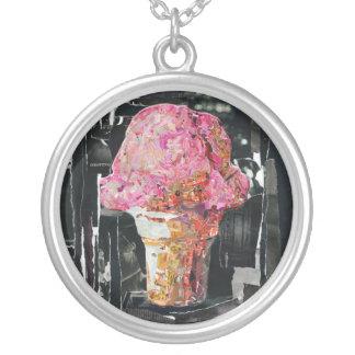 Pink Ice Cream Cone Round Pendant Necklace