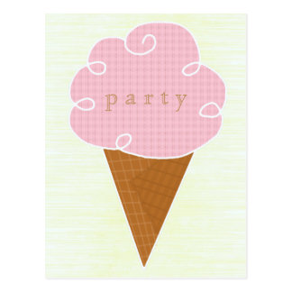 Pink Ice Cream Cone Summer Party Invitation Postcard