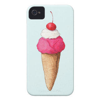 Pink Ice Cream Cone with a Cherry on Top iPhone 4 Case