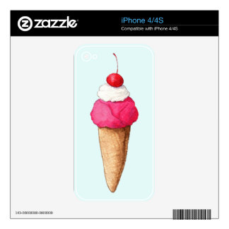 Pink Ice Cream Cone with a Cherry on Top iPhone 4S Skin