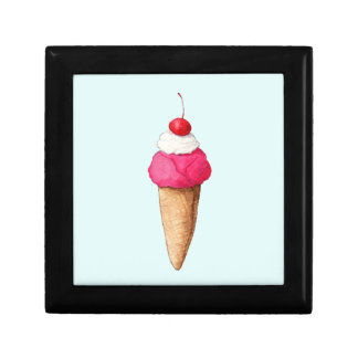 Pink Ice Cream Cone with a Cherry on Top Jewelry Box