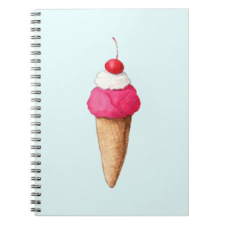 Pink Ice Cream Cone with a Cherry on Top Spiral Notebook
