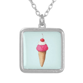 Pink Ice Cream Cone with a Cherry on Top Square Pendant Necklace