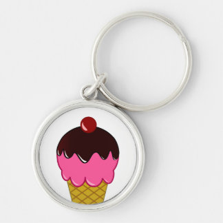 Pink Ice Cream Cone with Chocolate Syrup Keychain