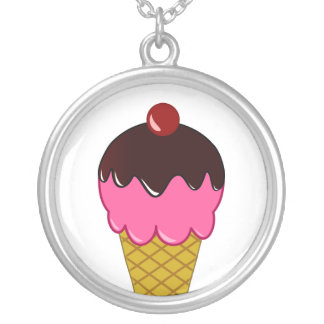 Pink Ice Cream Cone with Chocolate Syrup Round Pendant Necklace