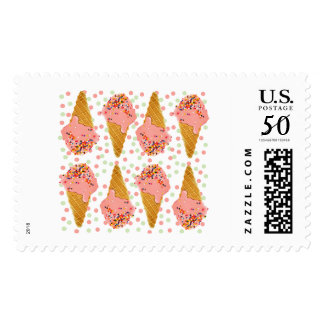 Pink Ice Cream Cones & Polka Dots Stamps