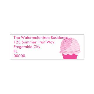 """Pink Ice Cream Custom Address 2.65"""" x 0.9"""" Stamp"""