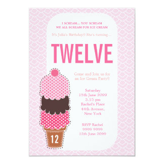 Pink Ice Cream Party Girls Birthday Invite