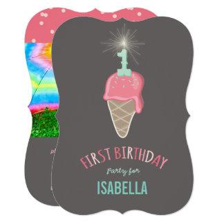 Pink Ice Cream Sparkler Girl 1st Birthday Party Card