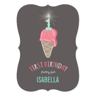 Pink Ice Cream Sparkler Girl 1st Birthday Party 5x7 Paper Invitation Card