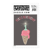 Pink Ice Cream Sparkler Girl 1st Birthday Party Postage