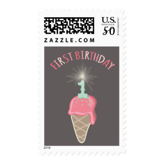 Pink Ice Cream Sparkler Girl 1st Birthday Party Postage