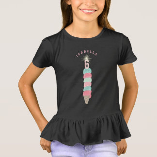 Pink Ice Cream Sparkler Girl 6th Birthday Party T-Shirt