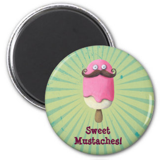 Pink Ice Cream with Mustaches 2 Inch Round Magnet