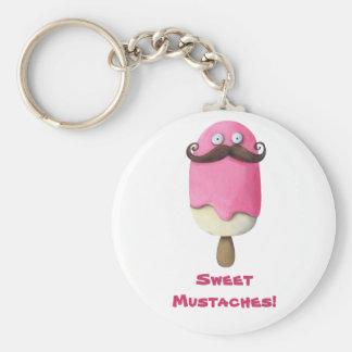 Pink Ice Cream with Mustaches Basic Round Button Keychain