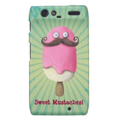 Pink Ice Cream with Mustaches Motorola Droid RAZR Case