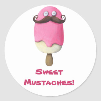 Pink Ice Cream with Mustaches Classic Round Sticker