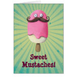 Pink Ice Cream with Mustaches Greeting Card