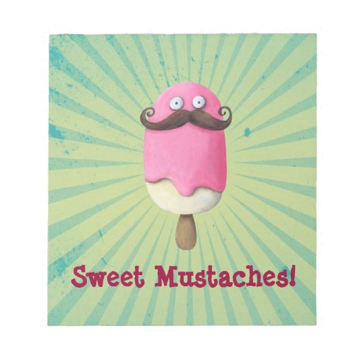 Pink Ice Cream with Mustaches Memo Pad