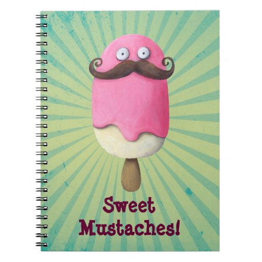 Pink Ice Cream with Mustaches Notebook