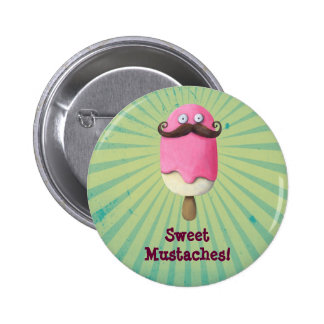 Pink Ice Cream with Mustaches Pinback Button