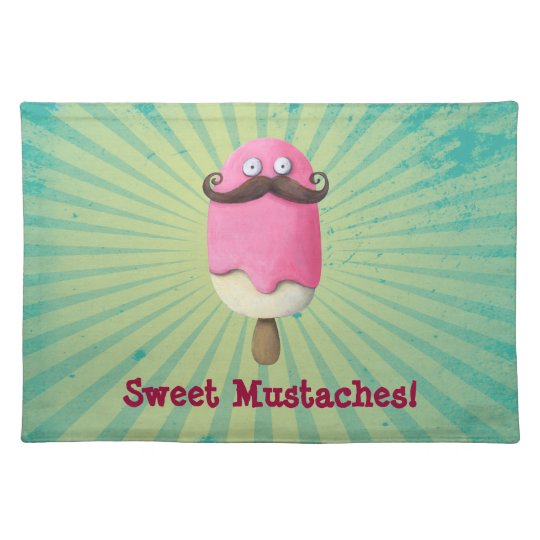 Pink Ice Cream with Mustaches Placemat