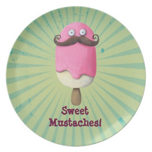 Pink Ice Cream with Mustaches Dinner Plate