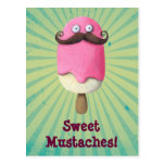 Pink Ice Cream with Mustaches Postcards