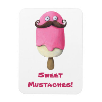 Pink Ice Cream with Mustaches Rectangular Photo Magnet