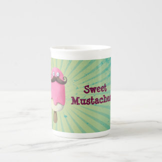 Pink Ice Cream with Mustaches Tea Cup