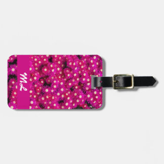 Pink ice plant flowers with initials luggage tag