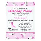 Pink Ice Skating Birthday Party Card