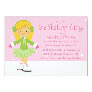 Pink Ice Skating   Birthday Party Invite