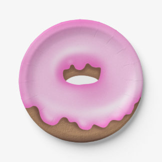 Pink iced donut paper plate 7 inch paper plate