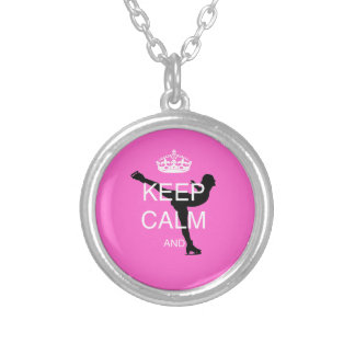 PINK iceskater skating GIFTs .. Keep calm skate on Silver Plated Necklace