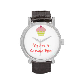 Pink Icing Cupcake Wrist Watches