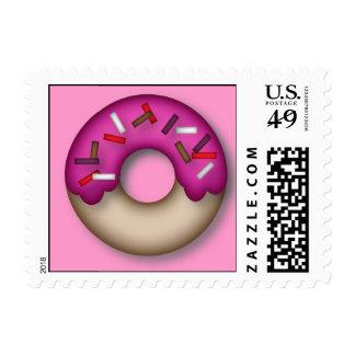 Pink Icing Donut Postage Stamp