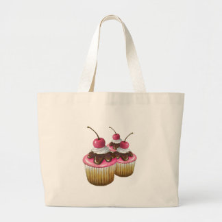 Pink Icing on Cupcakes: Cherry On Top: Art Jumbo Tote Bag