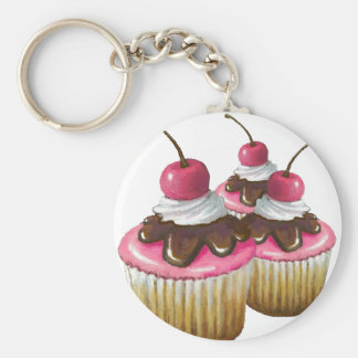 Pink Icing on Cupcakes: Cherry On Top: Art Keychain