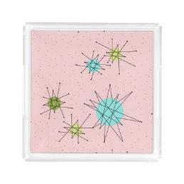 Pink Iconic Atomic Starbursts Acrylic Tray