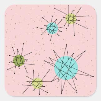 Pink Iconic Atomic Starbursts Square Stickers