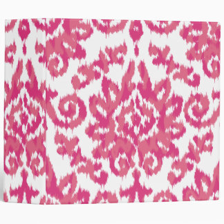 Pink Ikat Boho Whimsical Ethnic Girly White & Pink Binders