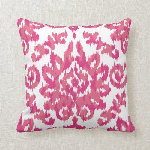 Pink Ikat Boho Whimsical Ethnic Girly White & Pink Throw Pillows