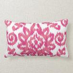 Pink Ikat Boho Whimsical Ethnic Girly White & Pink Pillow