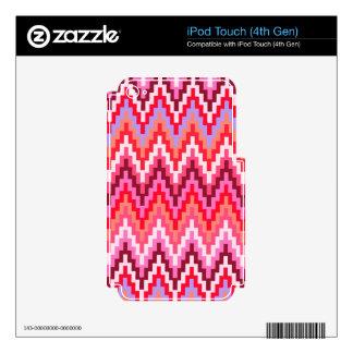 Pink Ikat Chevron Geometric Zig Zag Stripe Pattern Decals For iPod Touch 4G