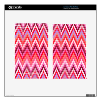Pink Ikat Chevron Geometric Zig Zag Stripe Pattern Decals For Kindle Fire
