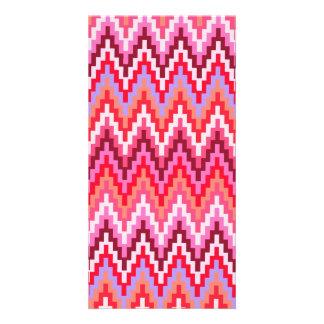 Pink Ikat Chevron Geometric Zig Zag Stripe Pattern Photo Greeting Card