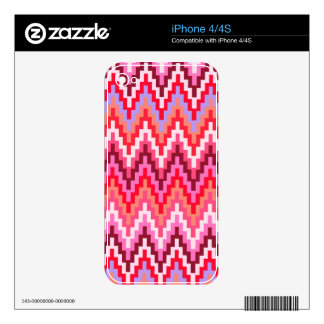 Pink Ikat Chevron Geometric Zig Zag Stripe Pattern Skin For iPhone 4S