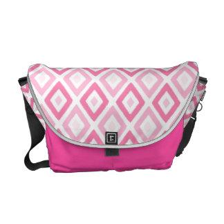 Pink Ikat Diamond Pattern Courier Bag